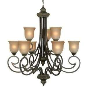 Collection Nine Light Large Wrought Iron Chandelier