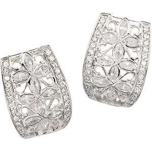 Sterling Silver Cubic Zirconia Flower Earrings Jewelry