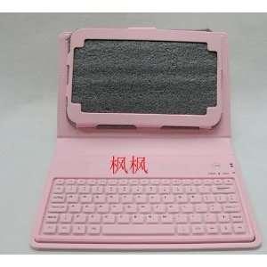 Pink Bluetooth Keyboard Leather Case for Samsung Galaxy Tab