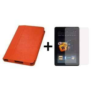 Orange Color Kindle Fire 3G WiFi PU Leather Stand Case/Cover + Screen