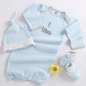 Home Baby 3 Piece Layette Set in Keepsake Gift Box (Blue) Baby