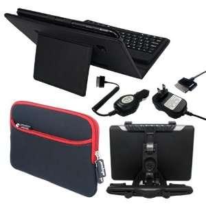 Premium Black Leather Case With Bluetooth Keyboard + Black