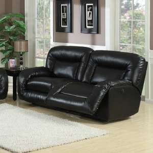 Bruno Bonded Leather Double Reclining Sofa in Black