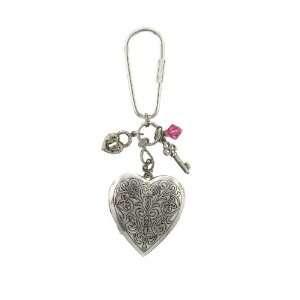 1928 Heart Lockets Silver Tone Charm Key Fob Health