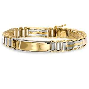 Mens 14k Yellow Gold ID Bracelet Accented With White Gold