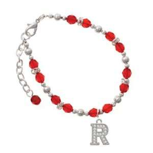 Crystal   R   Initial   Beaded Border Red Czech Glass Beaded Charm