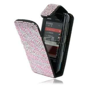 NEW PINK ZEBRA LEATHER BLING FLIP CASE FOR NOKIA 5800 Electronics