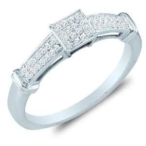 Gold Diamond Engagement Ring   Square Princess Shape Center Setting