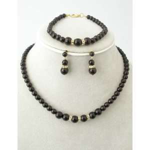Black Faux Pearls Necklace, Bracelet and Earring with Crystals Set