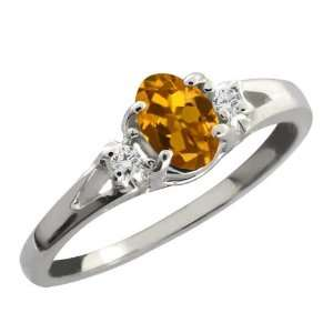 Orange Oval Tourmaline and White Diamond Sterling Silver Ring Jewelry
