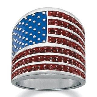 PalmBeach Jewelry American Flag Crystal Sterling Silver Ring