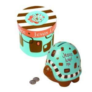 of Grace Ceramic Money Bank in Gift Box, Blue Turtle, 3.5 X 3.5 X 4