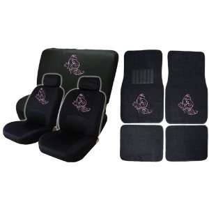 Pink Butterfly Low Back Seat Covers with Bench Cover and 4