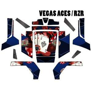 POLARIS RZR GRAPHICS DECAL VEGAS ACES BLUE W/ RED CHIPS