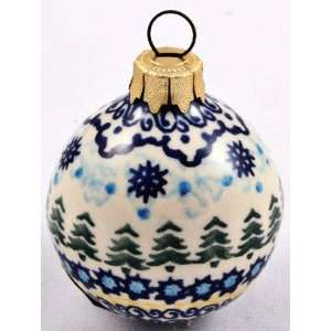 Polish Pottery Small Christmas Tree Ornament 2.25