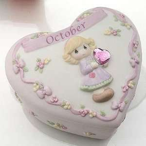 PRECIOUS MOMENTS BIRTHDAY HEART BOX W/BIRTHSTONE   OCTOBER