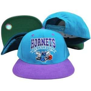 Teal/Purple Two Tone Snapback Adjustable Plastic Snap Back Hat / Cap