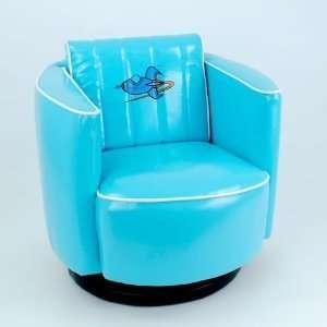 Retro Style Blue Vinyl Spaceship Swivel Chair for Kids