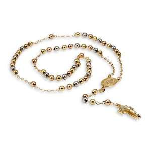 14k White Rose Gold Cross Crucifix Rosary Necklace Jewelry