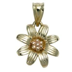 14k Yellow and Rose Gold Daisy Charm Jewelry