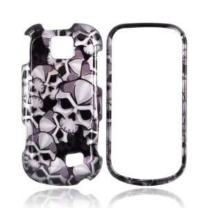 For Samsung Intercept Hard Case Cover BLACK GRAY SKULLS