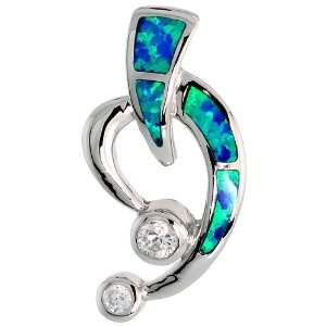Sterling Silver Open Heart Slide / Pendant, Inlaid w/ Lab Opal with 5