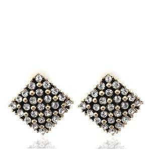 Gold Square Crystal Clip Earrings Used Swarovski Crystals