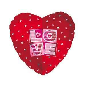 Love Squares Valentines Day 18 Foil Balloon [Health and