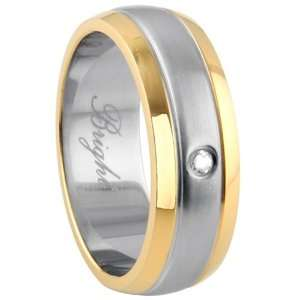 316L Stainless Steel Two Tone Ring with CZ Stone   Size 12 Jewelry