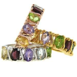 Sterling Silver, 18k, Rose Gold, Multi Color Genuine Gemstone Rings