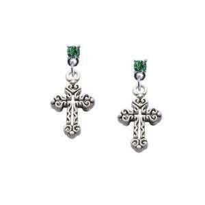 Cross Peridot Swarovski Post Charm Earrings [Jewelry] Jewelry