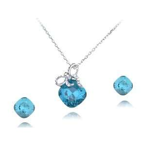 Gift Box Swarovski Crystal Element Earring Necklace Set Jewelry