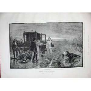 1887 Battle Scene Horse Carriage Men Swords Scylla