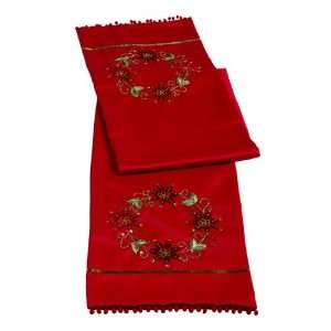 Let Nature Sing Embroidered and Sequin Wreath Sateen Red Table Runner