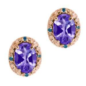 Oval Blue Tanzanite and Blue Diamond 14k Rose Gold Earrings Jewelry
