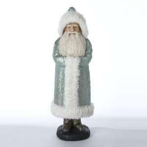 16 Glittered Teal Santa Claus Christmas Table Top Figure