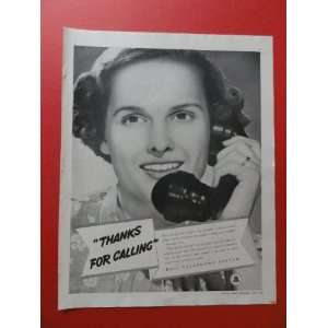 1938 Bell Telephone System, print advertisment (woman