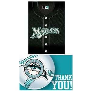 Florida Marlins Baseball   Invite & Thank You Combo