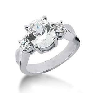 Oval Three Stone Diamond Engagement Ring with Side stones