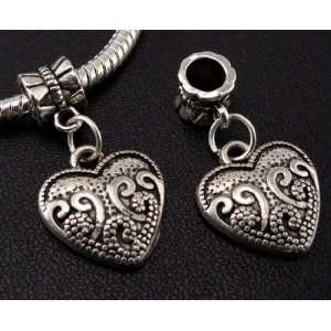 Silver Heart Dangle Charm Bead for Bracelet or Necklace