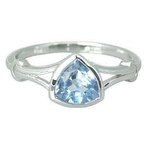 Trillion Cut 1.50 carat Swiss Blue Topaz Ring Size 9 in