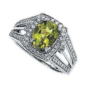 14K White Gold Ring Oval Cut Peridot & Diamond Accents
