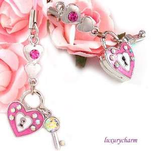 Pink Heart Key Cell Phone Charm Strap c494 Everything