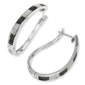 Sterling Silver Black & White Diamond Hoop Earrings Jewelry