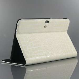 White / Crocodile pattern PU Leather Stand Case Cover for Samsung