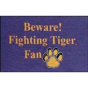 LSU Louisiana State Beware Tigers Tapestry Rug  Sports