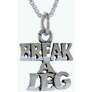 925 Sterling Silver Break a Leg Talking Pendant (w/ 18 Silver Chain