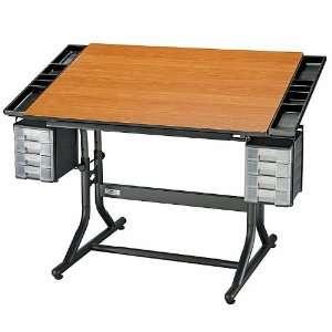 CraftMaster II Deluxe Drafting Table Cherry Woodgrain Top