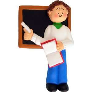 Brown Hair Male Teacher Christmas Ornament Everything
