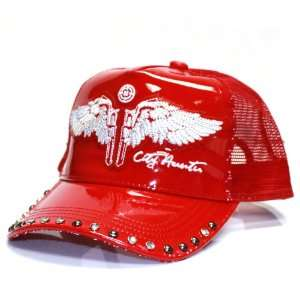 City Hunter Cr210 Patent Leather Trucker with Wing Cap   Red